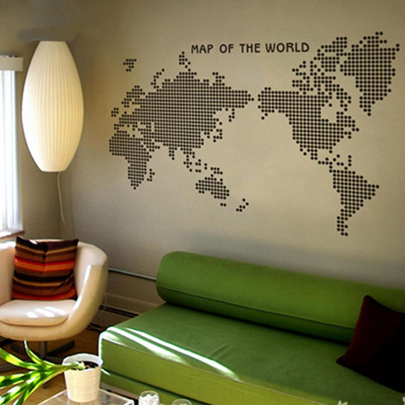 Large new design art pattern creative world map wall stickers dot circle map wall decals vinyl