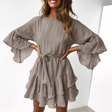 Women Casual Ruffles Round Neck Mini Dress Fashion Summer Evening Party Dress With Belt Womens A-Line dresses 2019 Hot Sale