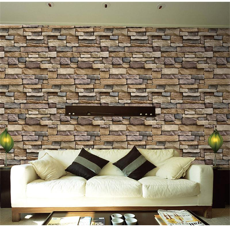 45cm*10m Self adhesive Thicker Stone Wall Wallpaper For Kitchen Bathroom Home Decor 3D Wall Sticker For Living Room Mural Poster
