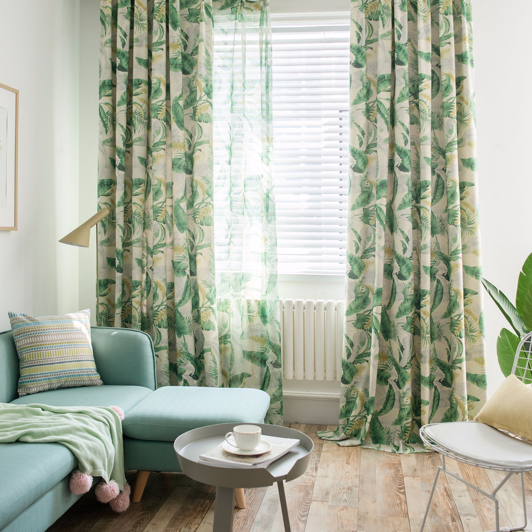 Us 17 8 11 Off Modern Curtains For Bedroom Living Room Leaf Printed Green Brown Fashion Curtain Sheer Window Sreens Garden Fresh Tulle In Curtains