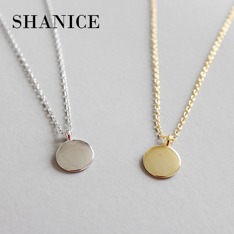 fd5747004946 SHANICE Pure 925 Sterling Silver Necklace Personality creativity  Peasminimalist geometry Small round coin Women Silver Chain