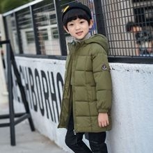 Children long cotton-padded clothes  boy 2018 new cotton-padded jacket thickening hooded parkas цена в Москве и Питере