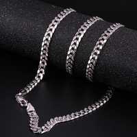 Robira New Arrivals Men 5MM Full Sideways Gold Necklaces 18K White Gold Fashion Jewelry For Men Link Chain Necklace