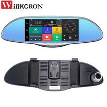 Best 3G 7 inch touch Car Rearview Mirror DVR Camera Video Recorder Android 5.0 GPS Navi Bluetooth FM WIFI Dual Lens Camcorder  все цены