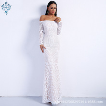 Ameision Saudi Arabic Sequins Mermaid Evening Dress Long Sleeves Off Shoulder Elegant Women Formal Party dress Prom Dresses 2019