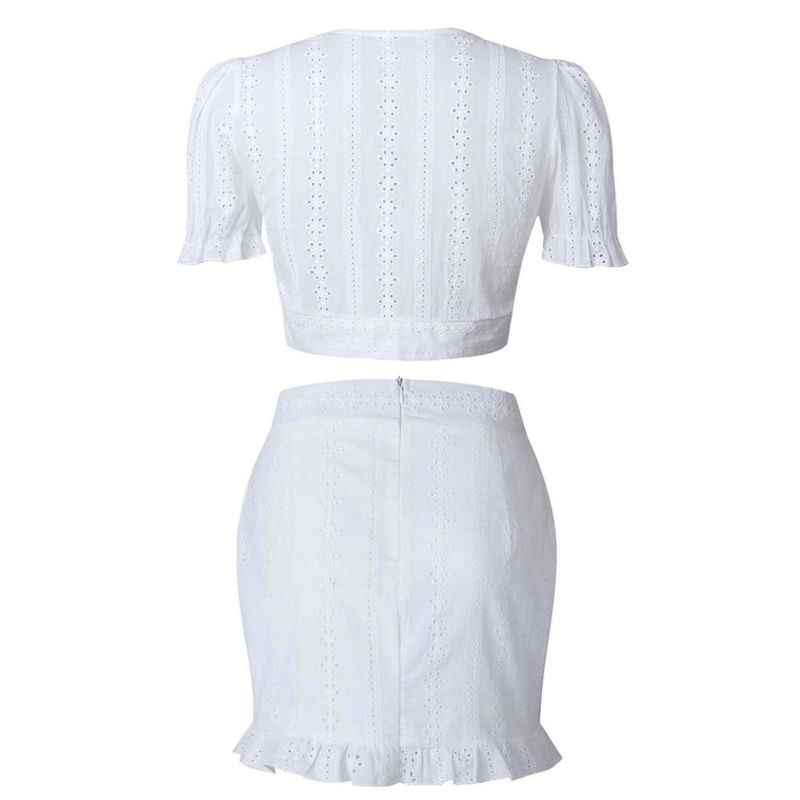 5251e79077b66f ... White Two Pieces Set Women Solid Tight Crop Top Sexy Package Hip Skirt  Women Clothing Y7