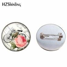 ¡Novedad! broche de moda Vintage con flores para bicicleta, joyería cabujón de cristal, broche hecho a mano para hombre y mujer, broches de Color a la moda