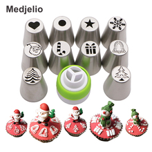 ФОТО 10PCS Christmas Tree Jingle Bells  Baking Russia Nozzles Icing Piping Tips Santa Claus Snowflake Star Cake Decorating Tools