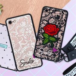 Модный сексуальный 3D чехол для телефона с цветком розы для iPhone 7 6 6S 8 Plus X SE 2 Женская Кружевная задняя крышка для iPhone 11 Pro Max с ремешком