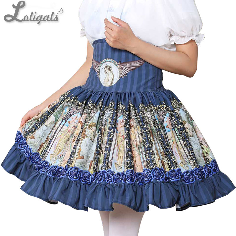 Sladká Mori Girl vysoká pasová sukně modrá musha tištěná dámská krátká sukně s volánkami