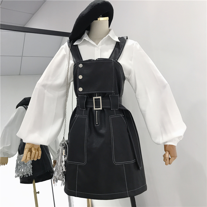 2019 spring new women 2 pieces dress sets lantern sleeved white blouse and denim zipper button dresses lady clothing suits