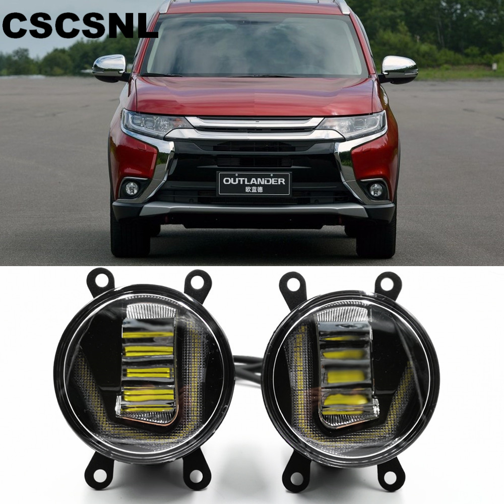 3 IN 1 Functions Auto LED For Mitsubishi Outlander 2006 2018 DRL Daytime Running Light Car