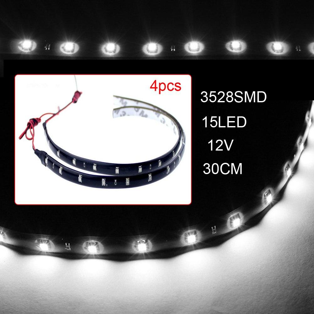 4pcs12V 30cm 15LED 3528 SMD Waterproof Car Auto led Flexible Strip Lights For Car Auto Bike 4pcs12V 30cm 15LED 3528 SMD Waterproof Car Auto led Flexible Strip Lights For Car Auto Bike Motorcycle Truck Decoration Lighting