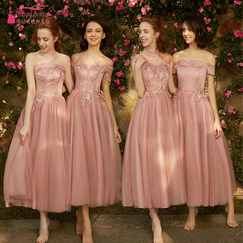 Dusty Pink   Bridesmaid     Dresses   4 Styles Awesome Maid Of Honor Gowns Lace Tulle Formal Vestido De Festa ZB082