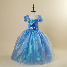 Free Shipping Retail 1pc 2017 new girl   costume fairy princesses  dress fancy bows party dresses