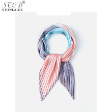 Silk scarf 2019 NEW printing small for women Korean version of tinted pleated feeling silk  ladies scarves kerchief