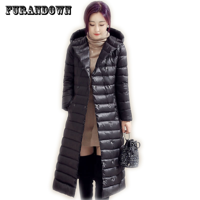 2017 New Winter Hooded Long Down Jacket Womens Ultra Light White Duck Down Jackets  Brands parka Coats d81c0df1ae
