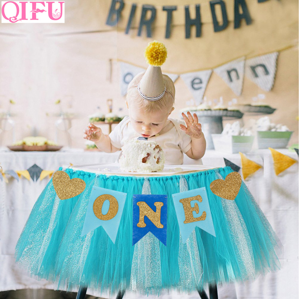 QIFU Baby First Birthday Party Chair Flag Banner Baby Shower ...