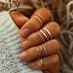 17km anéis de cor dourada vintage, conjunto para mulheres, geométrico, redondo, torção, anel de dedo, moda feminina, joias atacado por atacado