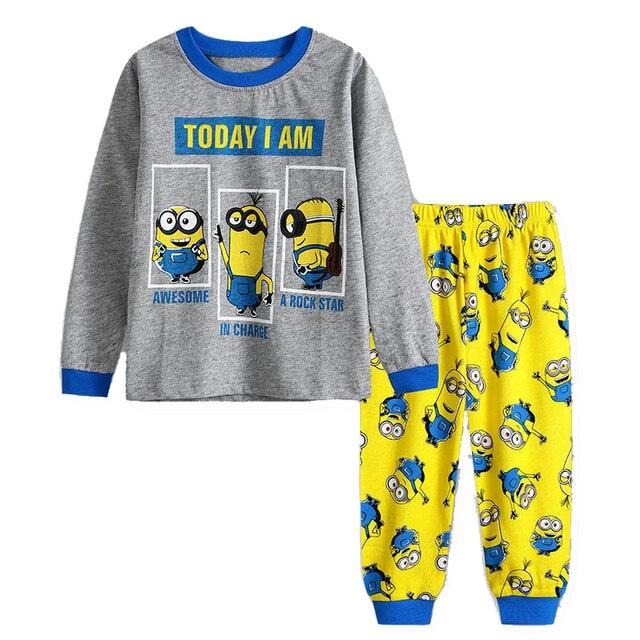 647d94597789c Cotton Boy Girl Minion Clothes Set Long Sleeve Top+Pants for 90-130cm  Children Print Kids Nightwear Sleepwear Children Pyjamas