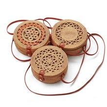 Round Vintage ethnic style Straw Crossbody bag Handbag Women Summer Rattan Bag Handmade Woven Shoulder Bags New Fashion цены онлайн