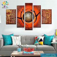 hand made thick textured 5 pcs canvas modular painting good day abstract orange wall art happy time abstract nude dancer picture