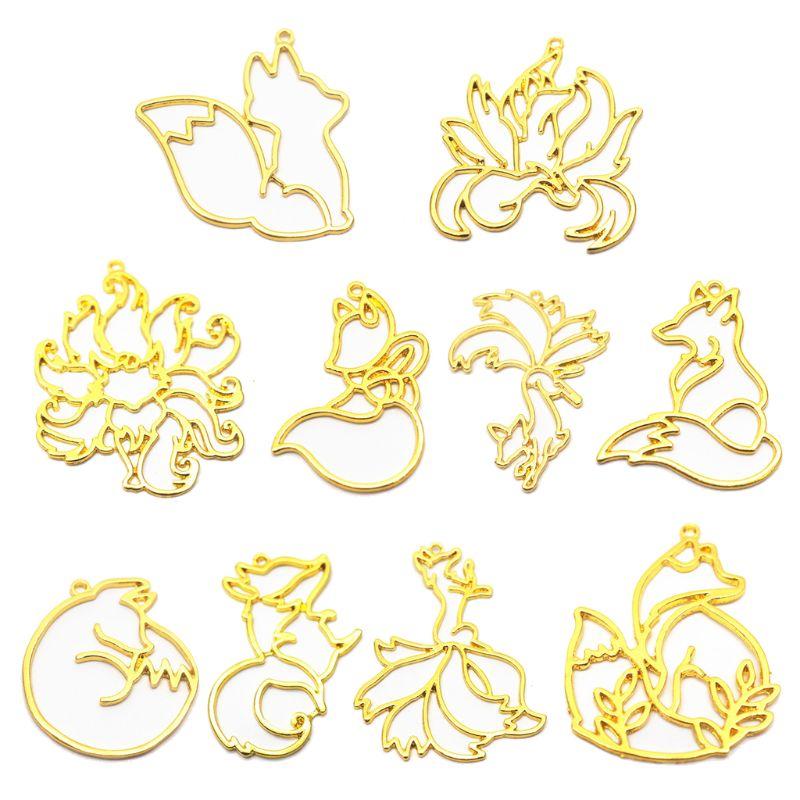 10Pcs Smart Fox Animal Pendant Open Bezel Setting UV Resin Craft Jewelry Making