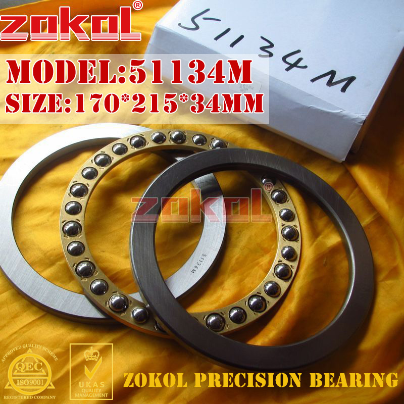 ZOKOL bearing 51134M  Thrust Ball Bearing  8134H 170*215*34mm zokol bearing 51130 thrust ball bearing 8130 150 190 31mm