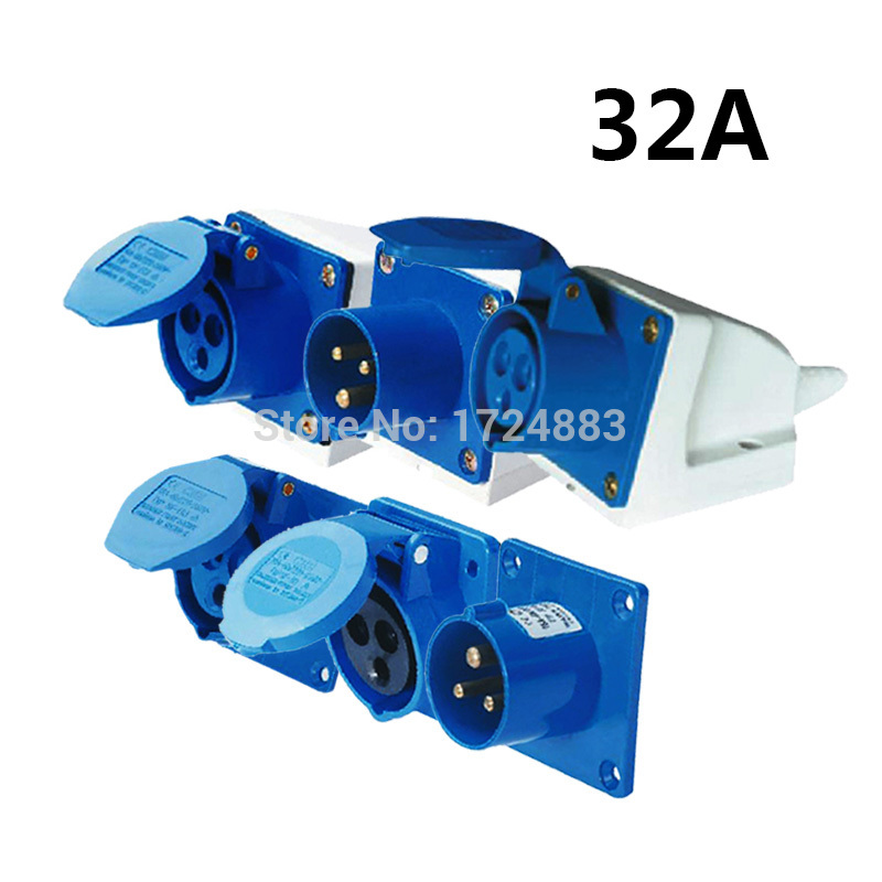 32A 3 Pole Connector Industrial Male&female Sockets SF-123/SF-323/SF-423/SF-523/SF-623/SF-123L Waterproof IP44 220-240V~2P+E