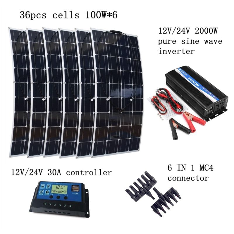 6*100W Flexible Solar Panel Module +Peak 2000W Inverter + 12V/24V 30A Controller with Extended Cables Houseuse 600W Solar System