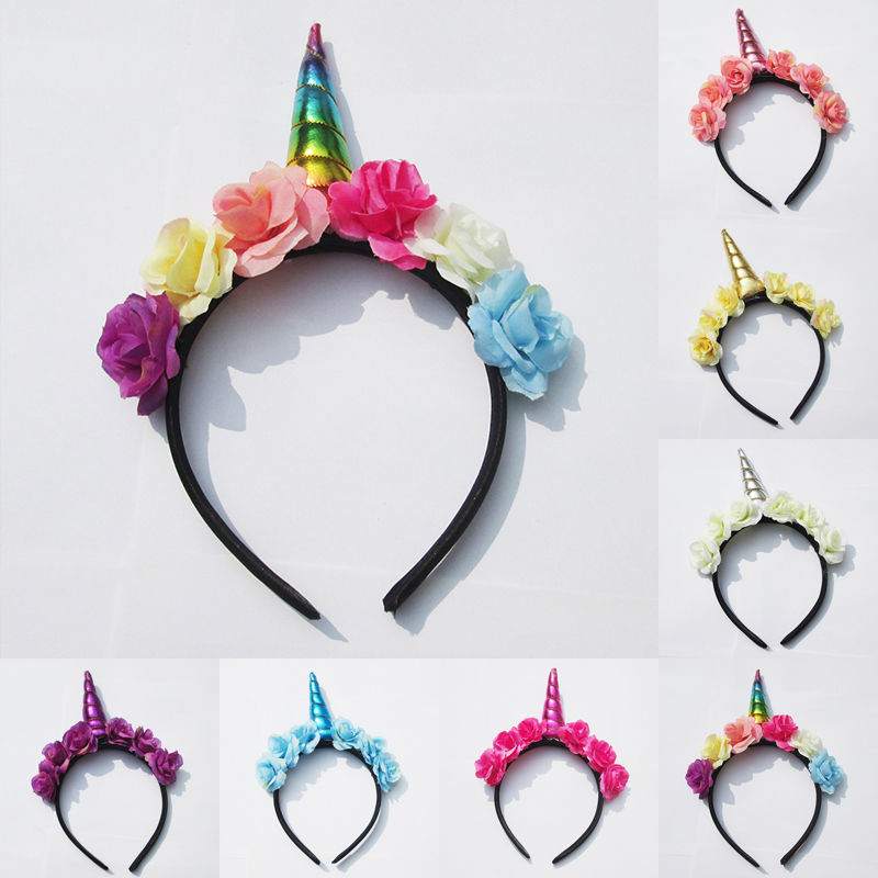 Decorative Magical Unicorn Horn Head Glitter Party Hair Headband Fancy Headwear