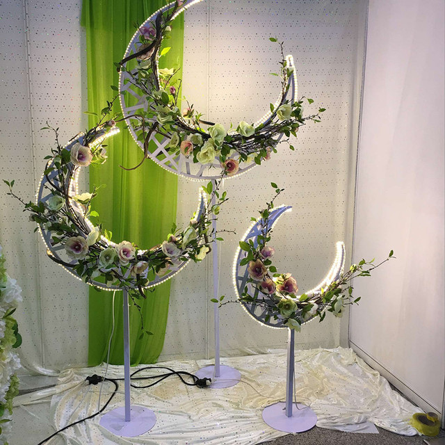 The New Moon Flower Rack With Lights Road Lead Wedding Decoration
