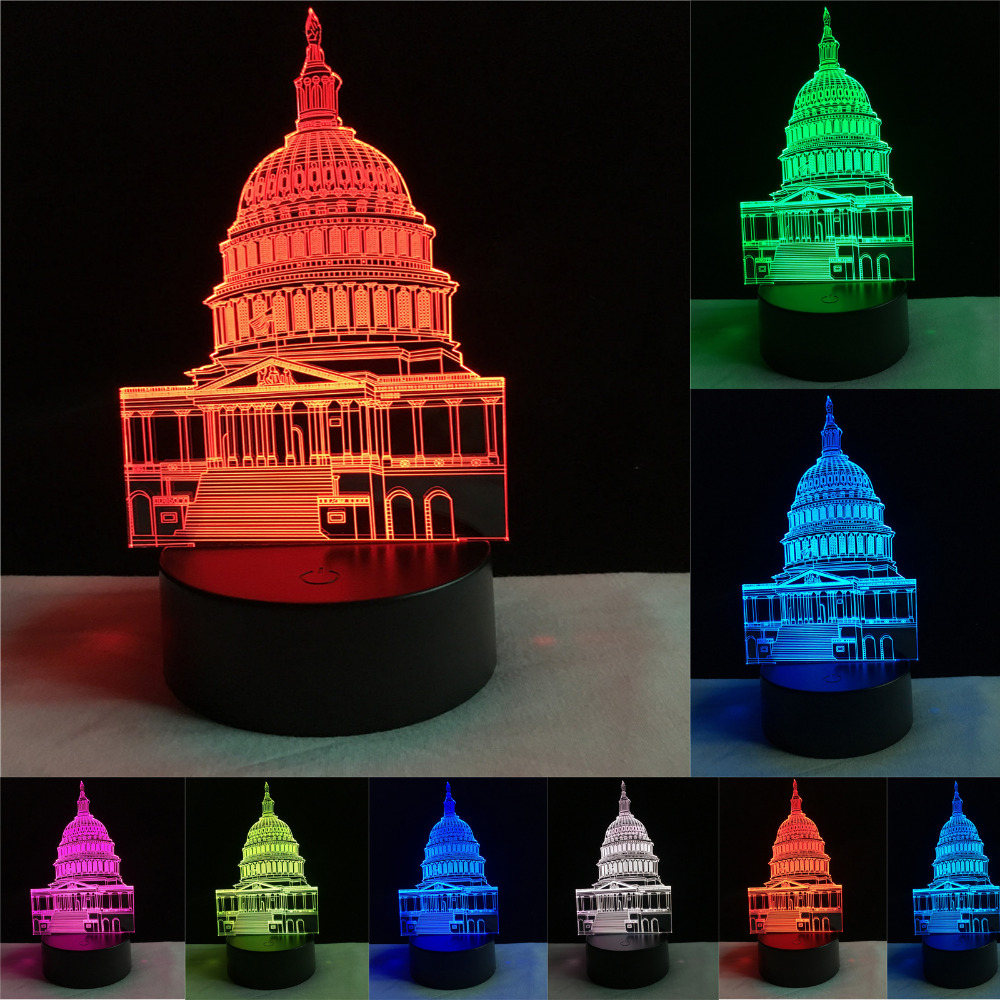 New 3D Lamps Optical Illusion Visual White House Night Lights 7 Colors Changing Touch Child Baby Sleeping Bedroom Birthday Gifts
