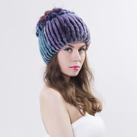 Sale 2016 Winter Beanies Fur Hat For Women Knitted Rex Rabbit Fur Hat With Fox Fur