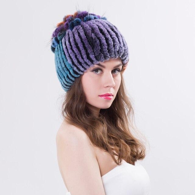 Las mujeres de Piel de Conejo Rex Sombrero de Piel Real Sombreros de  Invierno Skullies Gorros 4762cff573d7