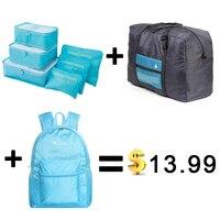 2017 Men And Women Luggage Travel Bags Packing Cubes Organizer Folding Bag Bags 6pcs Set Plus