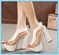 Насосы платформы сексуальные высокие каблуки лодыжки ремень коренастый сандалии женская обувь женские 2016 обувь женщина партия женский желе сандалии D32