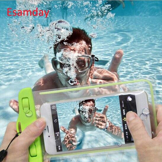 Esamday étanche sous-marine coque de téléphone sac pour iPhone X 6 7 6 s 7 plus 8 8 P 5 5 s SE pour galaxy grand prime s6 s5 huawei xiaomi
