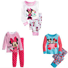 2016 wholesale lovely cartoon minnie mouse long sleeve tops long pants suit baby girls nightwear pajamas homewear 1-7Y