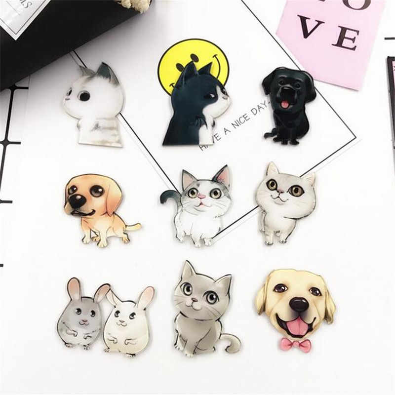 1 PCS Cute Cat Black Dog acrylic PVC badge children pin brooch Backpack Decoration Badges for clothing and bags