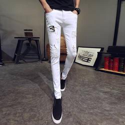 2018 г. Модные осенние новые штаны Для мужчин Марка Slim Fit личности патч Дизайн отверстие Повседневное Для мужчин узкие брюки Лидер продаж
