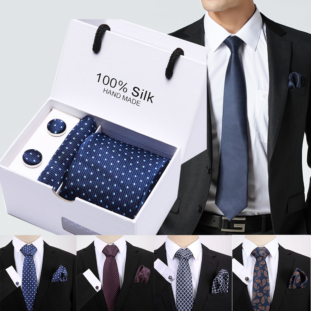 Free Shipping 2.95inch(7.5 Cm) Width Ensemble Polka Dot Blue Man Tie, Handkerchief And Cufflinks Gift Box Packing Many Color