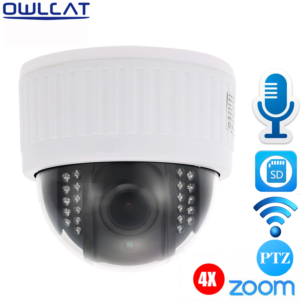 Owlcat White 5X Zoom Full HD 1080P Dome PTZ Video Surveillance CCTV Wifi IP Camera Microphone Audio IR Night Onvif P2P & SD Card 4 in 1 ir high speed dome camera ahd tvi cvi cvbs 1080p output ir night vision 150m ptz dome camera with wiper