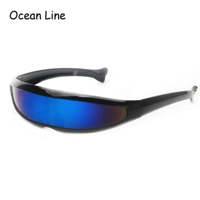 Futuristic Narrow Cyclops Sunglasses UV400 Personality Mirrored Lens Costume Eyewear Glasses Funny Party Mask Decoration 1