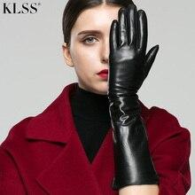 KLSS Марка Натуральная Кожа Женские Перчатки Около 40 см Длинные Модные Элегантные Черные Перчатки