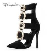 ブランドピンク手のひら女性の夏の靴ハイヒール女性アンクルブーツクリスタルダイヤモンドレザーサンダル女性