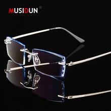 2496a555f7 Diamante recortado corte gafas anteojos sin montura de titanio hombre de  lujo marca gafas de lectura óptica prescripción Q116