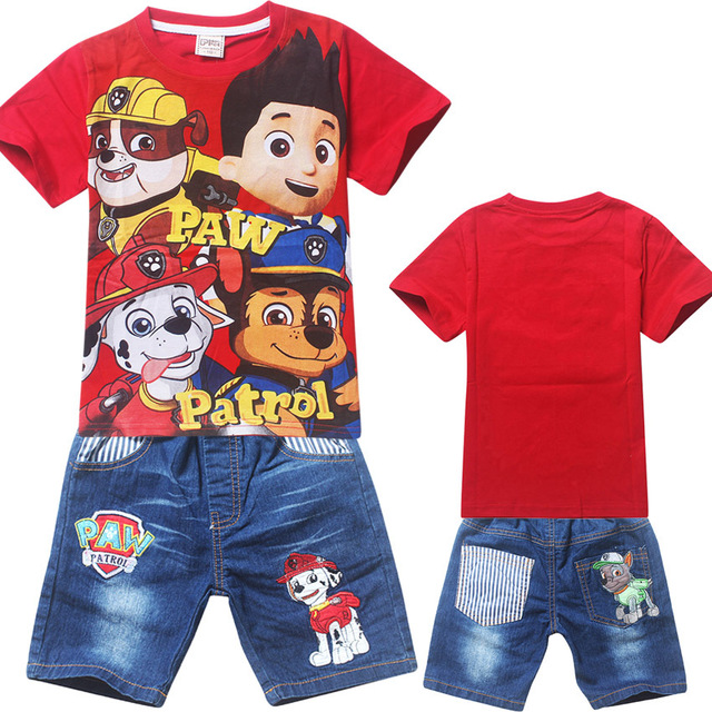 2017 летом стиль Дети Девочки Мальчики Мультфильм Костюм комплект Одежды для Детей Одежда Для Девочек шорты футболки + джинсы брюки марка