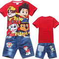2017 summer style Children Girls Boys Cartoon sets Costume Clothing set for Kids Clothes Girls shorts T-shirts+Jeans pants brand