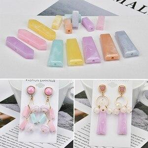 Resin cuboid trapezoidal straight hole earrings DIY accessories handmade earrings ear clip ear jewelry homemade materials(China)